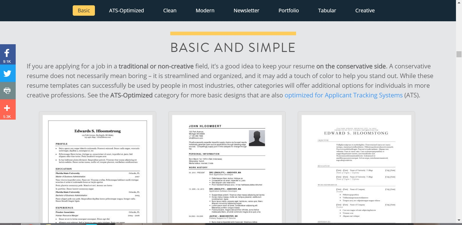 top 5 websites with free resume templates