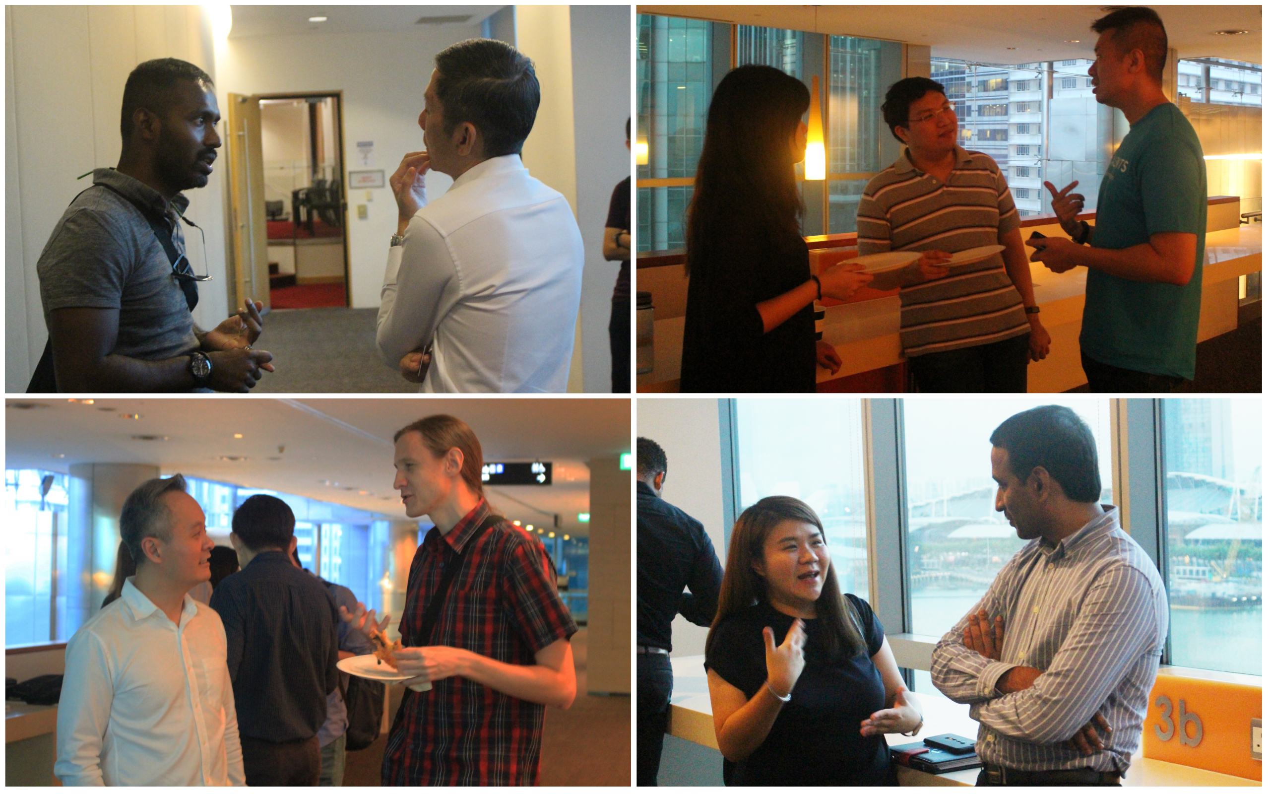 Event attendees doing networking during pre-event networking session.